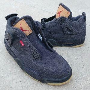 Nike Air Jordan 4 Levi's Black Sneakers Size 10